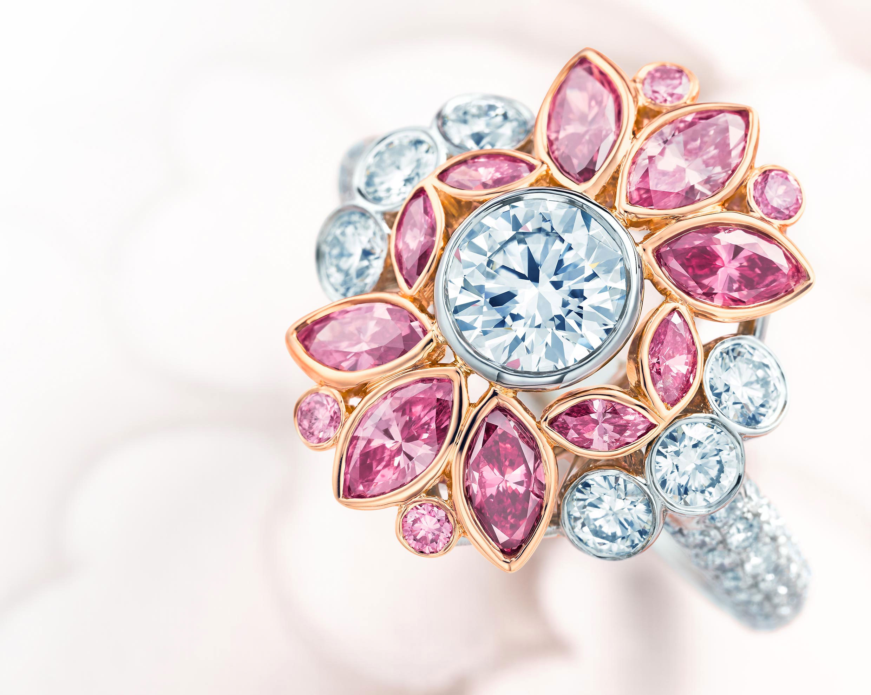 pink diamond floral ring